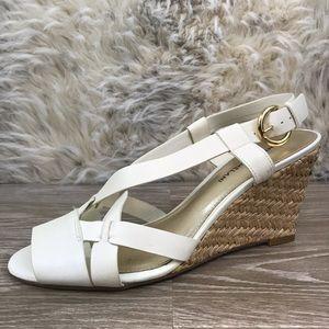 Antonio Melani white leather sandal wedge woven